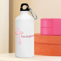 Inspirational Water Bottle - Pink Message of Faith