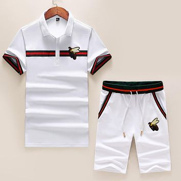 GUCCI Summer Men Casual Embroidry Shirt Top Tee Shorts Set Two-Piece White