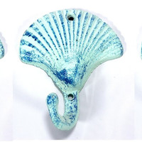 Scallop Shell Wall Hooks Cast Iron Antique Blue - Set of 3 for Coats, Aprons, Hats, Towels, Pot Holders, More