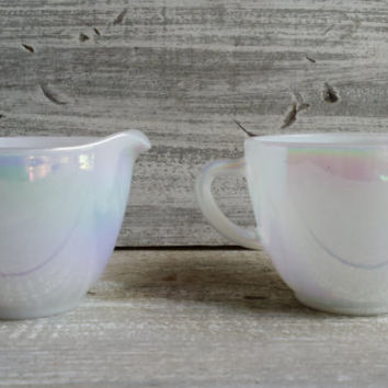 Federal glass moonglow sugar and creamer