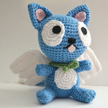 Happy Fairy Tail Cat Plush Amigurumi Doll