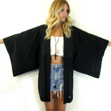 RARE Black Semi Sheer KIMONO Jacket Wide Sleeve BAMBOO Flower Cutout Japanese Haori Jacket/ Outerwear