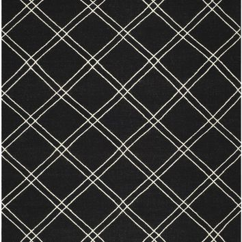Dhurries Contemporary Indoorarea Rug Black / Ivory