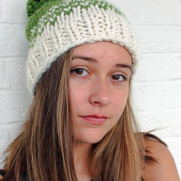 Womens Pom Pom Hat Pattern, Fair Isle Knit Hat Pattern, Large Pom Pom Hat, Easy Beanie Pattern, Chunky Winter Beanie Knitting Pattern,