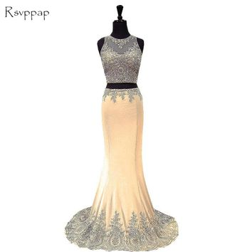 Long Prom Dresses 2017 Elegant Sheer Scoop Neckline Beaded Gold Lace African Satin Two Piece Prom Dress