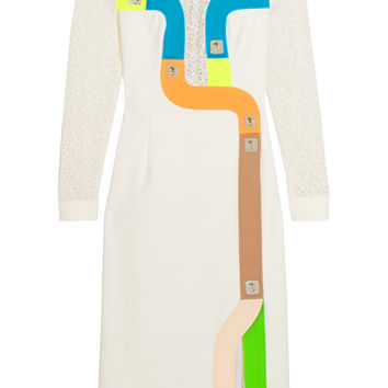 Peter Pilotto - Track embroidered tulle and wool-blend crepe dress