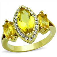 McQueen -  FINAL SALE Triple Navette Shaped Topaz Colored Glass Stone Atop Stainless Steel Ring