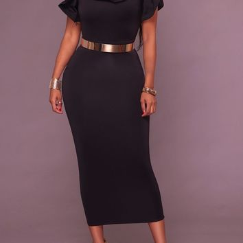 Black Ruffle Belt Chain Slit High Waisted Bodycon Banquet Elegant Party Midi Dress