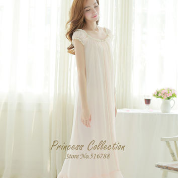 Free Shipping Princess Style Nightgown Chiffon and Modal Cotton Pyjamas Women's Long Sleepwear White and Apricot Nightshirt