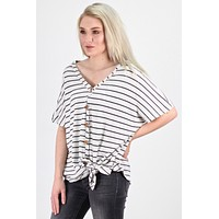 Oversized Striped Button & Tie Front S/S Thermal {H. Grey/Charcoal}