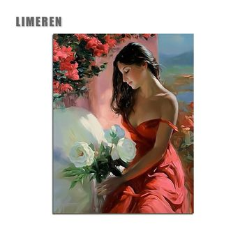 Beautiful Girl And Flowers Painting By Numbers Red clothes Girl Home Decor Living Room Wall Art