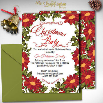 Christmas Party Invitation, Poinsettia Flowers , Red Green, Digital Printable,Holiday Party Invite, Holiday Card | DIY INSTANT DOWNLOAD