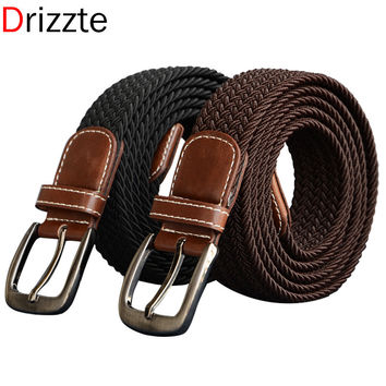 Long Plus Size Elastic Woven Black Brown Men's Belt