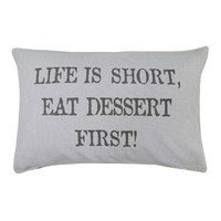 Park B. Smith ''Eat Dessert'' Throw Pillow (Grey)