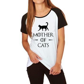 Games of Thrones Style T-shirts Mother of Cats Pugs Huskies Printed Funny T Shirts Tee Shirt