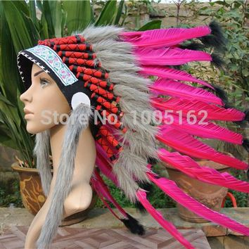 Chief Indian feather Headdress Native American feather costumes headdress indian War Bonnet Hat of hot pink feather hat