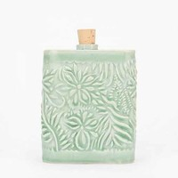 Chase Brown Floral Ceramic Flask- Assorted One