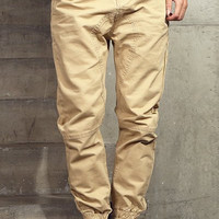 Khaki Beam Feet Jogger Pants
