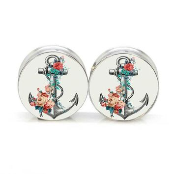 ac DCCKO2Q 1 pair anchor flower stainless steel night owl plug tunnels double flare ear plug gauges body piercing jewelry