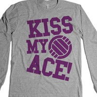 Kiss My Ace (Long Sleeve)-Unisex Heather Grey T-Shirt