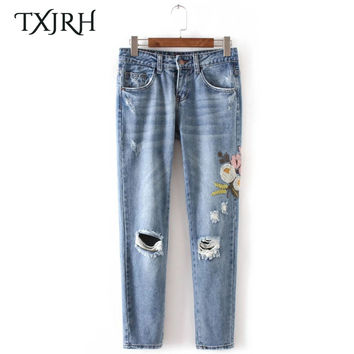 TXJRH Vintage Floral Pattern Embroidery Demin Jeans Pencil Pants Hole Ripped Washed Bleached Zipper Pockets Slim Skinny Trousers