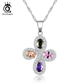 ORSA JEWELS White Gold Plated Colorful Crystal Paved Cross Pendant Necklace for Women Fashion Lady Christmas Gift OMN02