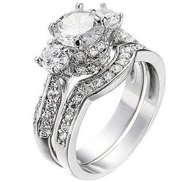 Xahh Women's 2 Pcs Platinum Plated Ring Princess Cut 3 Cubic Zirconia Bridal Engagement Wedding Band Set 8
