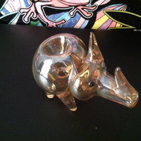 Gold Fumed Glass Pipe Rhino - Smoking Bowl Piece