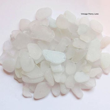 Bulk Lot of Sea Glass, Beach Glass, Frosted White / Clear