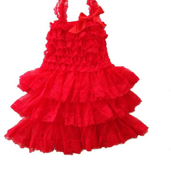 DELUXE REd Christmas tutu - layered boutique Baby Petti Dress Rustic Country  Lace tulle girls dress Party, Christmas, Holiday