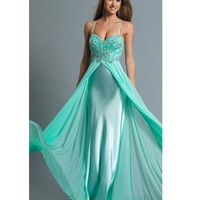 Dave & Johnny 980 Aqua Spaghetti Strap Beaded Bodice Dress 2015 Prom Dresses