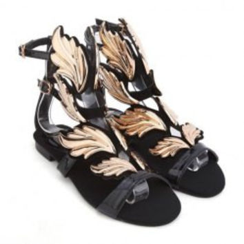 Fashion Women's Flat Sandals With Gold Leaf and Buckle Design