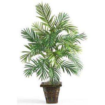 Nearly Natural, 38 in. Areca Palm Silk Plant with Wicker Basket, 6536 at The Home Depot - Mobile