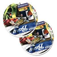 Crab in the Middle Set of 2 Cup Holder Car Coasters 1008CARC