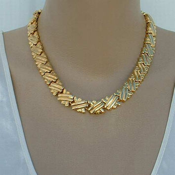 "Heavy Basket Weave Link Necklace 18"" Quality Vintage Jewelry"