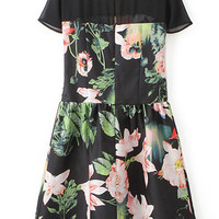 Short Sleeves Floral Printed Skater Dress