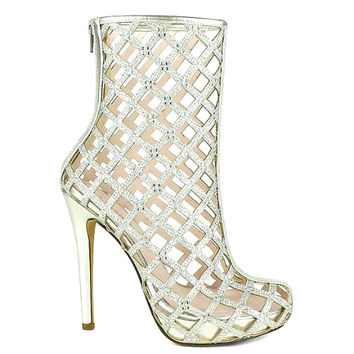 Ingrid-08 Silver Rhinestones Ankle Boot Bridal Pump Stiletto Heels