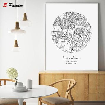 London City Map Modern Canvas Painting Nordic Posters and Prints Wall Art Pictures for Living Room Home Decoration No Frame