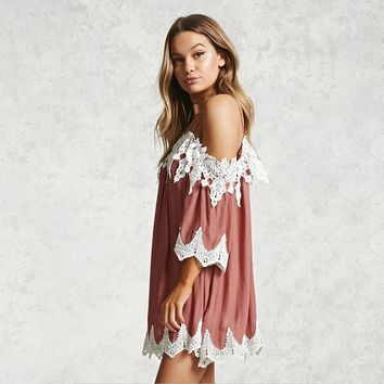Lace Loose Patchwork 3/4 Sleeves Spaghetti Straps Short Dress
