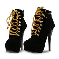 Black High Heels Sexy Lace Up Side Zipper Ankle Bootie Solid Boots