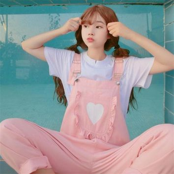 2018 Autumn Korea Women Bts the New soft sister kawaii pink printing Kangaroo pocke bib Harajuku Vadim big Jumpsuit