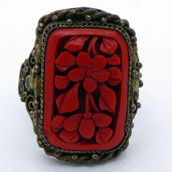 Vintage Estate Signed China Cinnabar Floral Ring, Adjustable