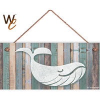 """Whale Sign, Beach Weathered Wood, Weatherproof, 6""""x14"""", Rustic Signs, Housewarming Gift, Under The Sea Sign, Made to Order"""