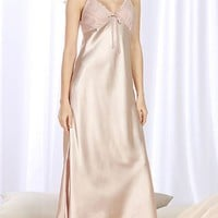 Casual Spaghetti Strap Maxi Dress Satin Nightgown