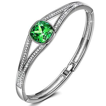 JNINA Jewelry with heartsDeluxe Packaginghearts Legend of the Moon Emerald Bangle with Cushion Brilliant Cutting Crystals from Swarovski Fashion Bracelets Jewelry for Women