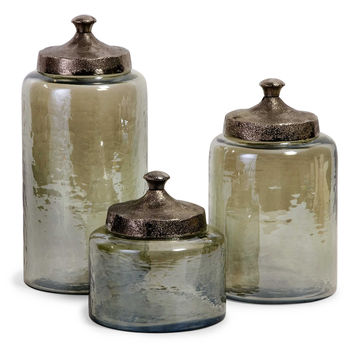 Round Green Luster Canisters - Set of 3