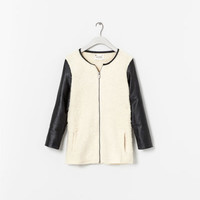 COMBINATION COAT WITH FAUX LEATHER SLEEVES - Coats - Girl (2 - 14 years) - Kids | ZARA United States