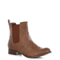 Wide Fit Tan Brogue Chelsea Boots