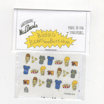 BOOTLEG BEAVIS and BUTTHEAD  waterslide nail decals - free shipping U S A - yvngpearl