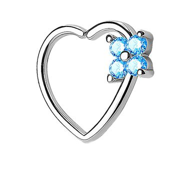 BodyJ4You 16G Daith Piercing Aqua CZ Square Heart Silver Helix Earring Cartilage Hoop Piercing